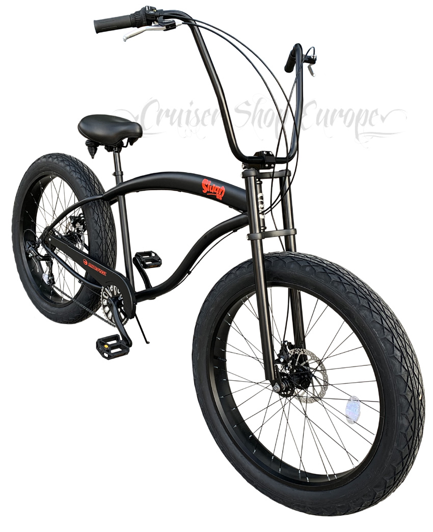 click on the picture to enlarge - Micargi Slugo SS Black FAT chopper bicycle at Cruiser Shop Europe