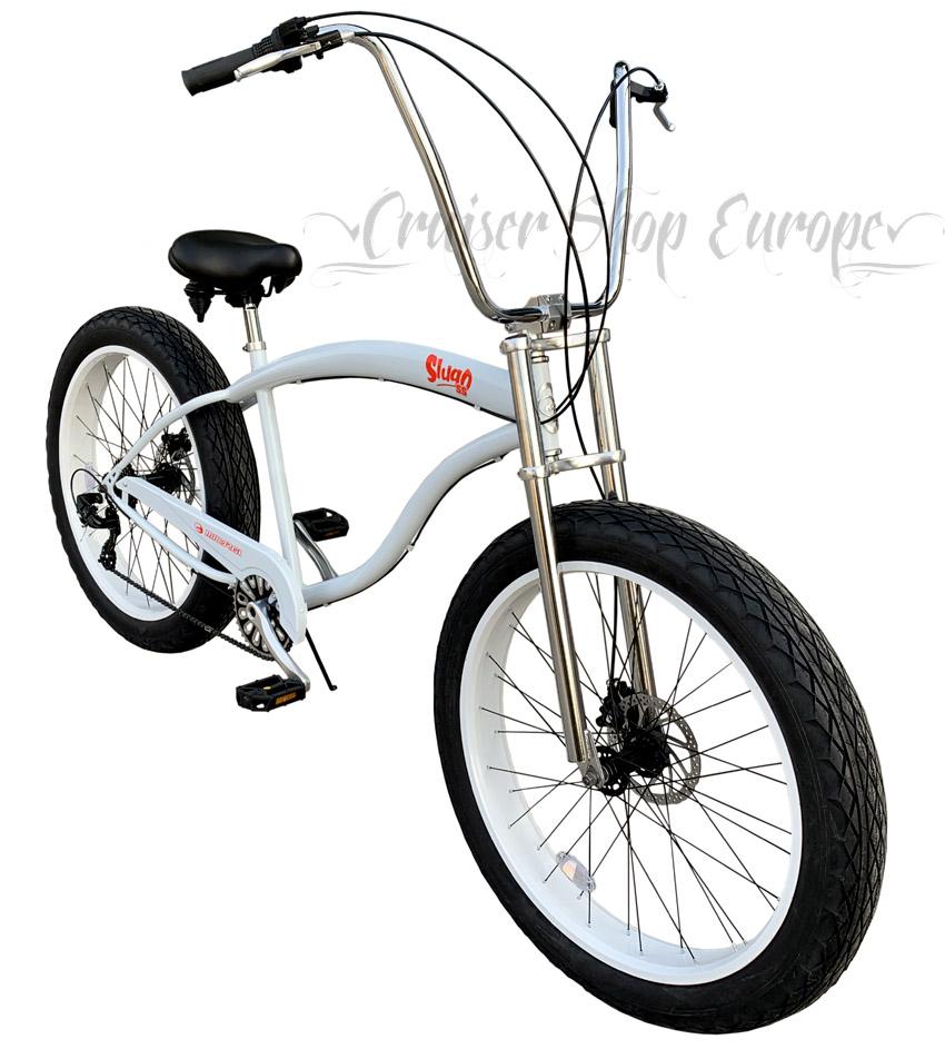 click this photo to see ful size - Micargi Slugo SS FAT chopper XXL bicycle WHITE - Cruiser Shop Europe